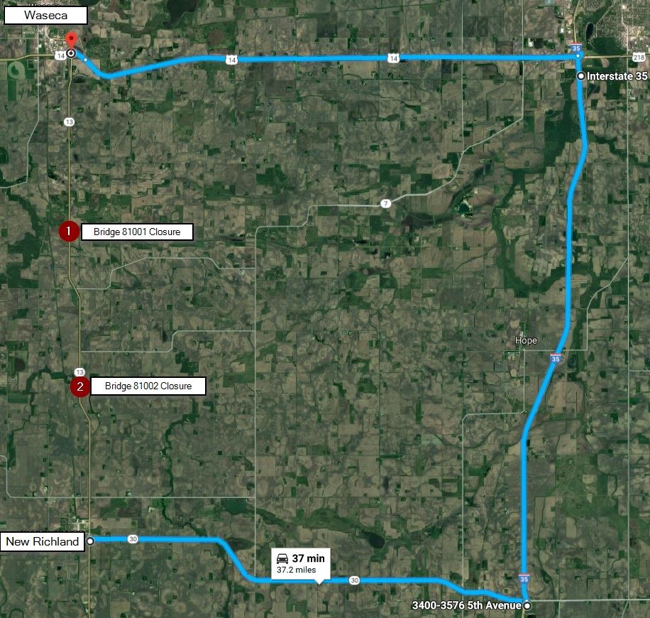 Waseca County detour map